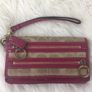 Coach Poppy Signature Pink & Tan Wristlet Wallet